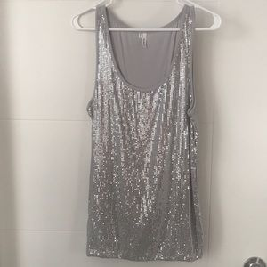 EUC Silver Sequin front XL tank top